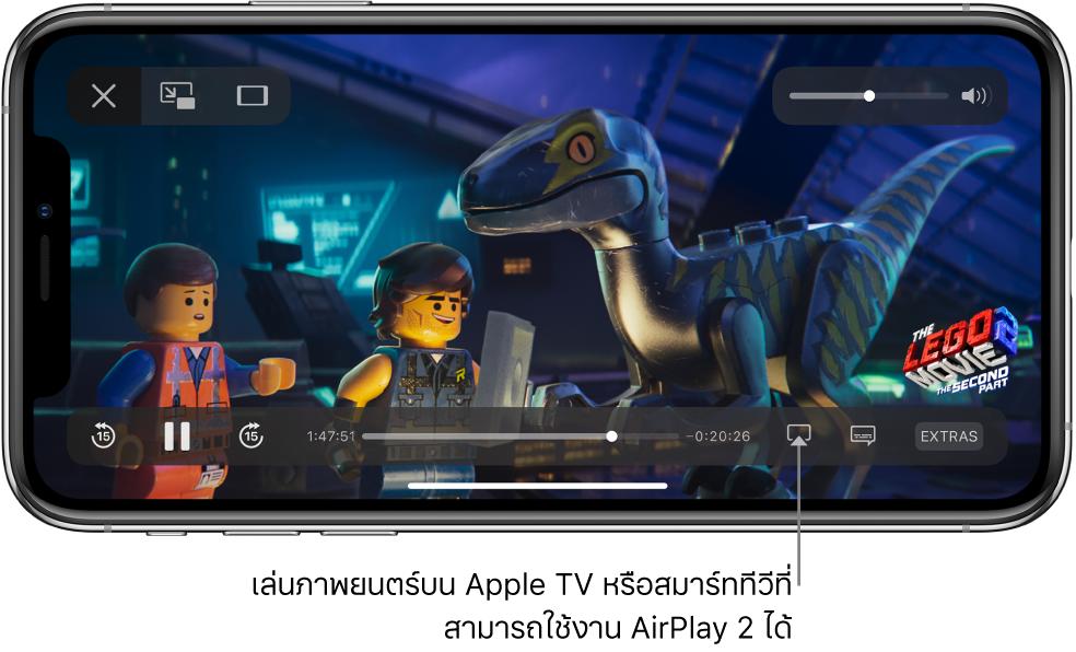ภาพยนตร์ที่เล่นบนหน้าจอ iPhone ที่ด้านล่างสุดของหน้าจอคือตัวควบคุมการเล่น รวมถึงปุ่มการสะท้อนภาพหน้าจอบริเวณด้านขวาล่างสุด