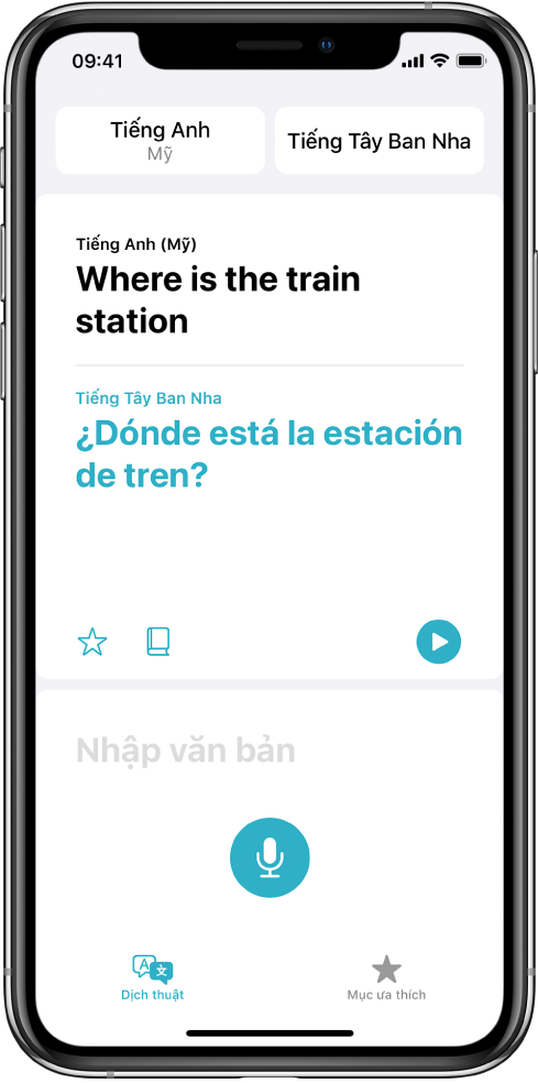 Màn hình Dịch thuật, đang hiển thị hai ngôn ngữ được chọn – Tiếng Anh và Tiếng Tây Ban Nha – ở trên cùng, một bản dịch ở giữa và trường Nhập văn bản ở gần dưới cùng.