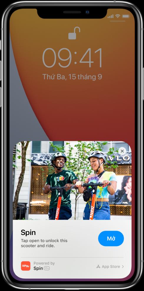 Một Ứng dụng thu nhỏ xuất hiện ở cuối Màn hình khóa iPhone.