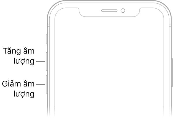 Phần phía trên của mặt trước iPhone với các nút tăng âm lượng và giảm âm lượng ở phía trên bên trái.