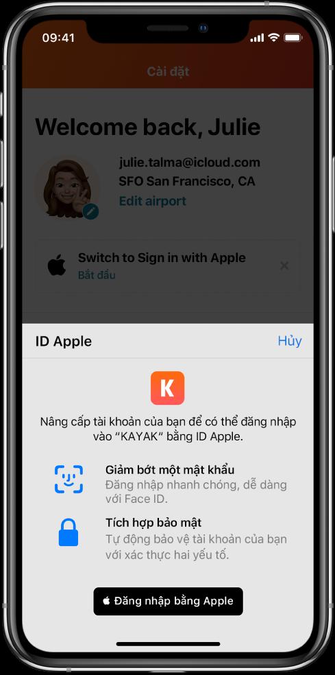 Một ứng dụng hiển thị nút Đăng nhập bằng Apple.