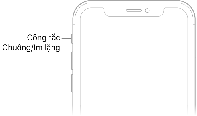 Phần phía trên của mặt trước iPhone với chú thích trỏ đến công tắc Chuông/Im lặng.