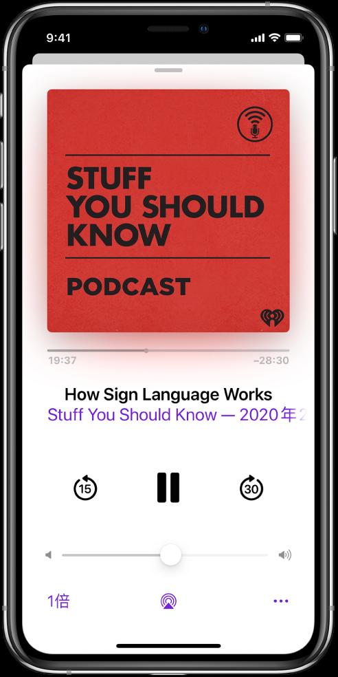 「播放中」畫面上的播放控制項目。在 Podcast 圖片下方,拖移音軌位置滑桿來倒轉或快轉。在單集標題下方有倒轉、播放或暫停及快轉的按鈕。在上述兩項下方是音量控制項目。左下角是更改播放速度的控制項目。右下角為「更多」按鈕。