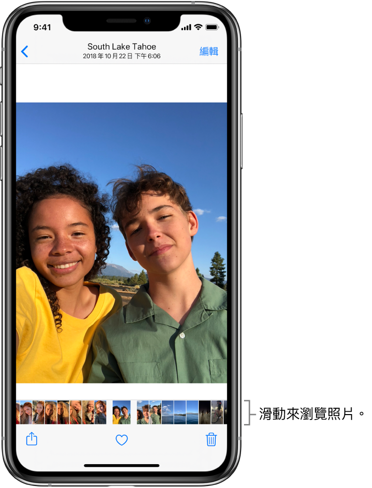 顯示一張照片,螢幕底部是一列其他照片的縮覽圖。左上角為返回按鈕,可讓您返回剛剛瀏覽的顯示畫面。沿著底部是「分享」、「喜好項目」和「刪除」按鈕。右上方為「編輯」按鈕。