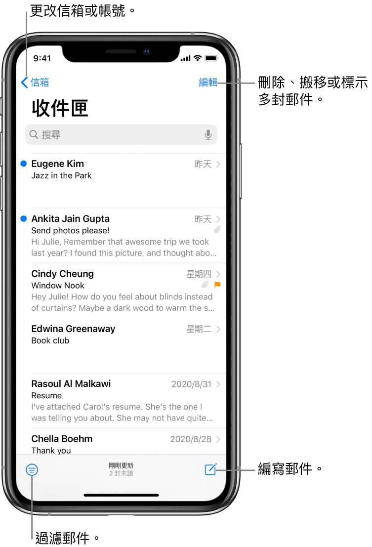 「收件匣」顯示電子郵件列表。切換至其他信箱的「信箱」按鈕位於左上角。用於刪除、搬移或標示電子郵件的「編輯」按鈕位於右上角。用於過濾電子郵件以便只顯示特定種類電子郵件的按鈕位於左下角。編寫新電子郵件的按鈕位於右下角。