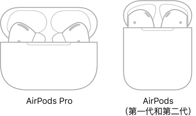 左方為 AirPodsPro 在充電盒中的插圖。右方為 AirPods(第二代)在充電盒中的插圖。