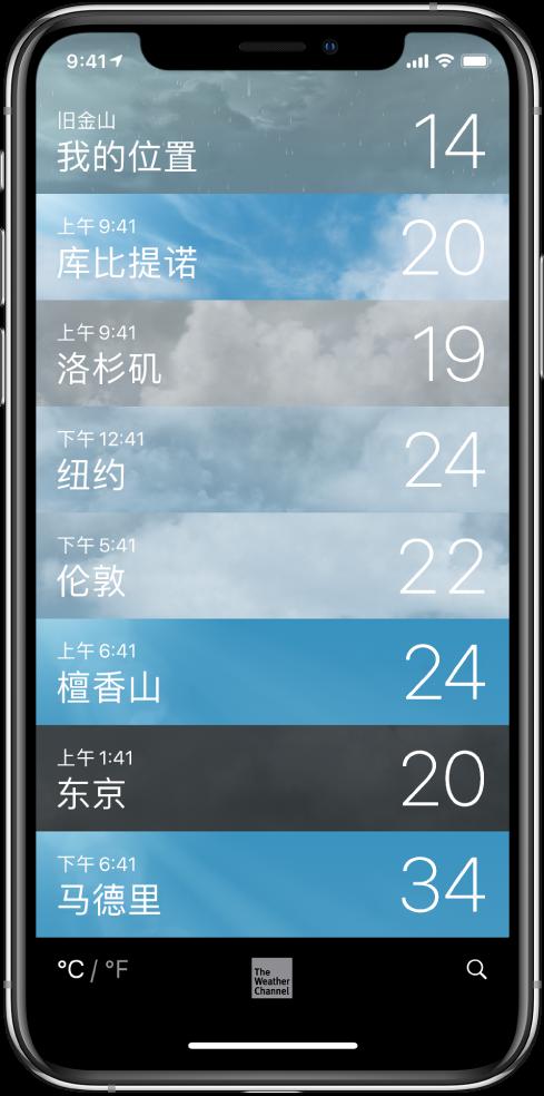 城市列表,显示每个城市的时间和当前温度。