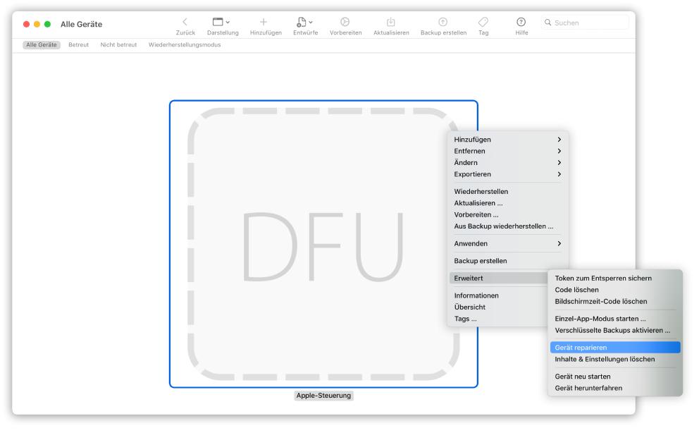"""Apple Configurator 2 zeigt einen Mac, für den """"Gerät wiederherstellen"""" im Einblendmenü ausgewählt ist."""