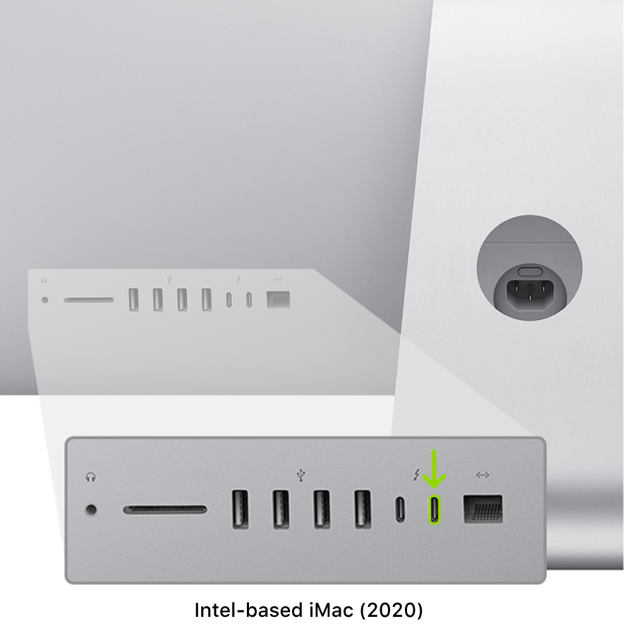 The back of the Intel-based iMac (2020), showing two Thunderbolt 3 (USB-C) ports, with the rightmost one highlighted.