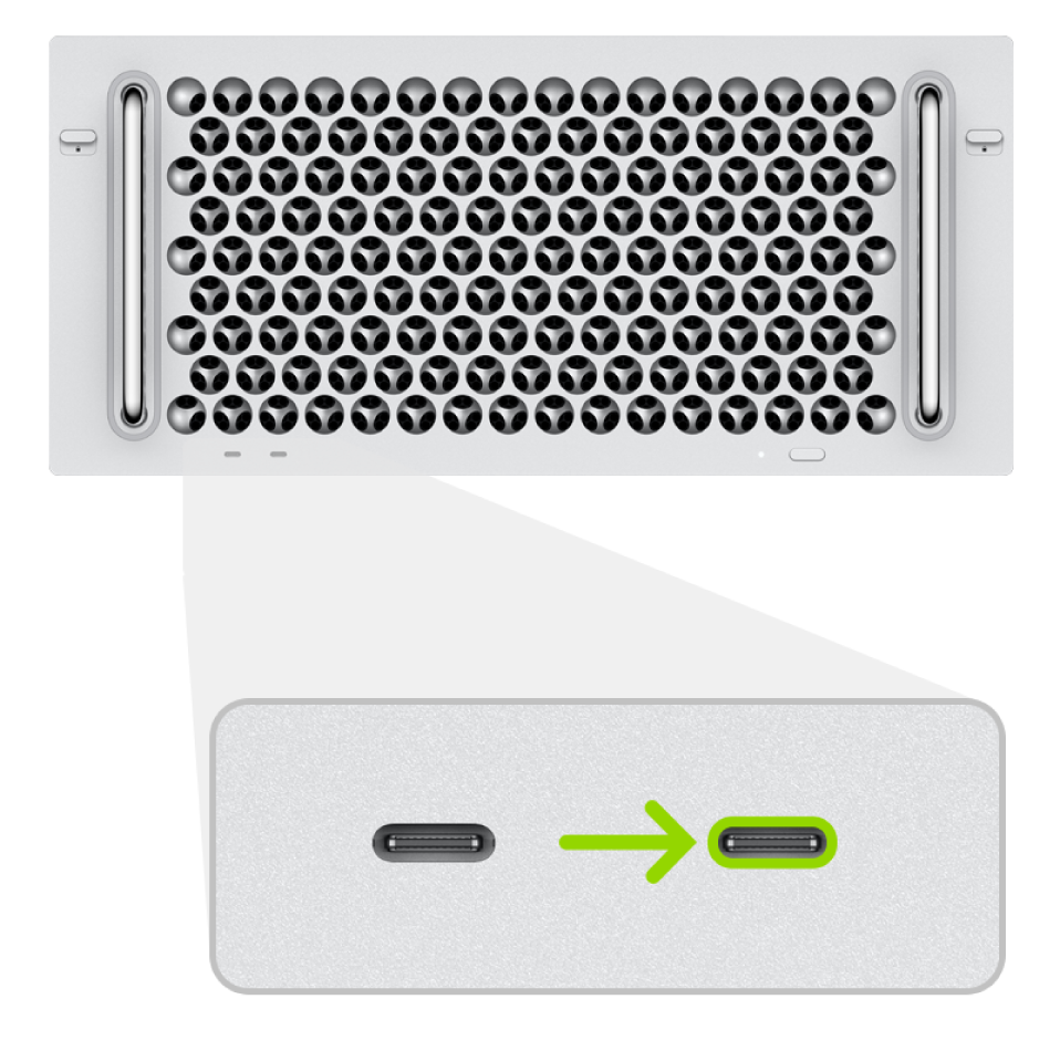 The back of a 2019 rack mount Mac Pro, showing two Thunderbolt (USB-C) ports, with the rightmost one highlighted.
