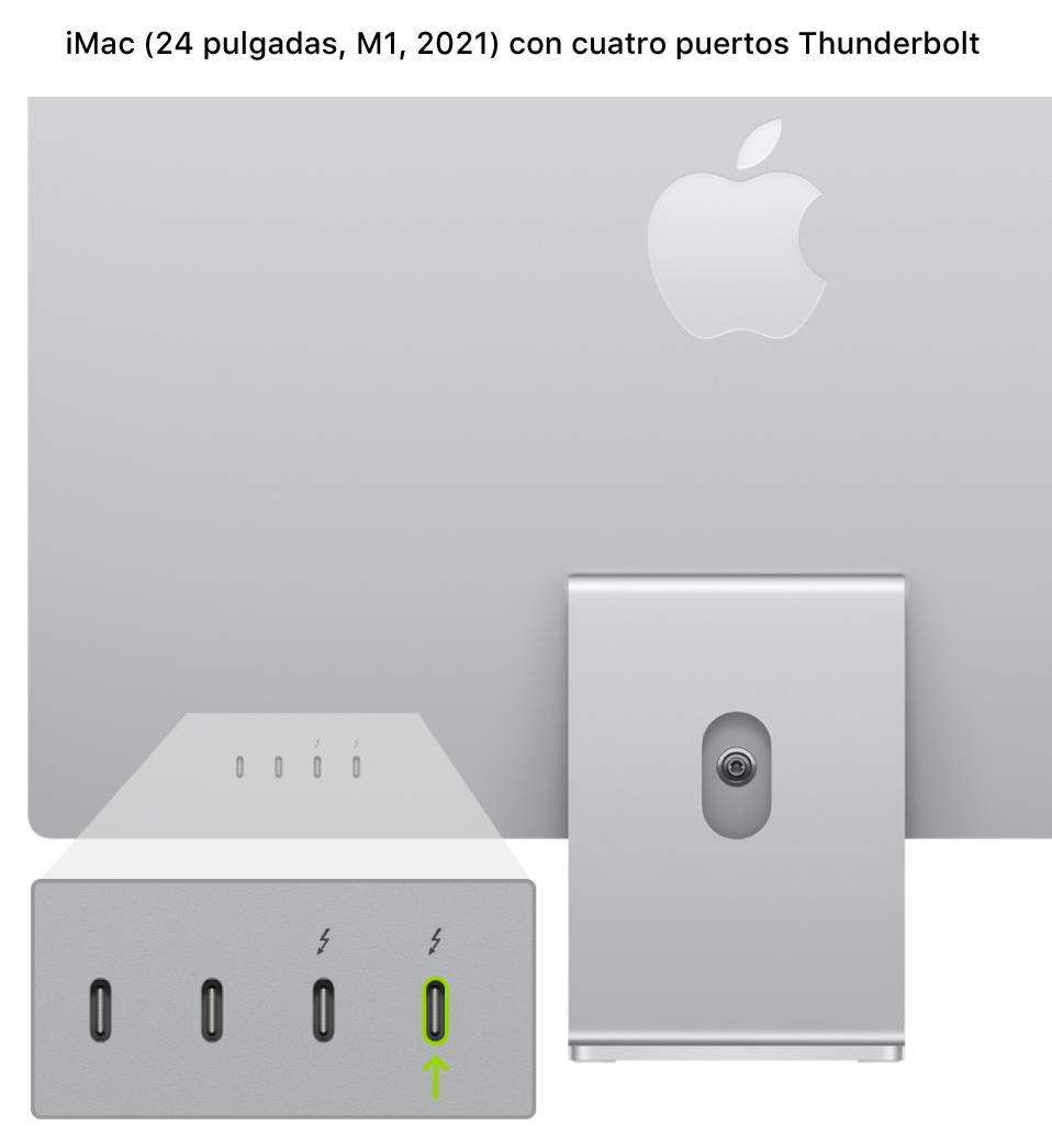La parte posterior del iMac (24pulgadas, M1, 2021) con cuatro puertos Thunderbolt3 (USB-C) cerca de la parte posterior y el que está más a la derecha aparece resaltado.