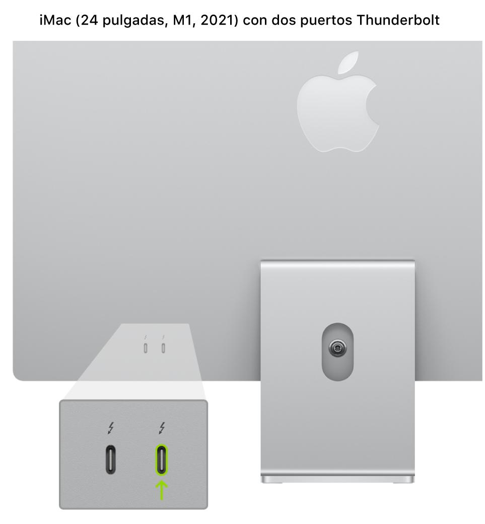 La parte posterior del iMac (24pulgadas, M1, 2021) con dos puertos Thunderbolt3 (USB-C) cerca de la parte posterior y el que está más a la derecha aparece resaltado.