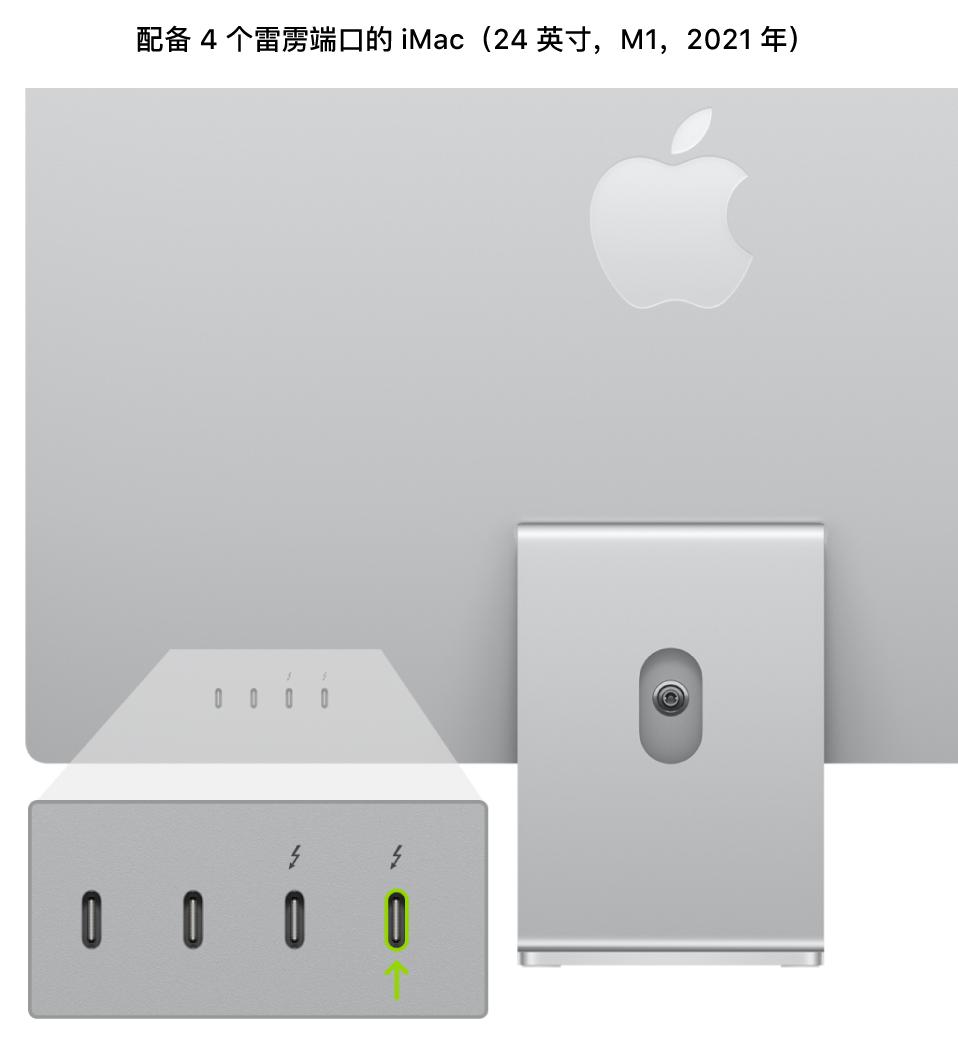 iMac(24 英寸,M1,2021 年)的背面,显示靠后的四个雷雳 3 (USB-C) 端口,其中标出了最右侧的端口。