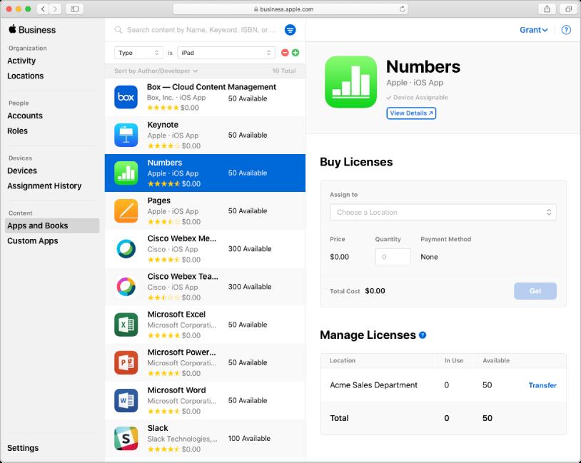 Het AppleBusinessManager-venster met 'Apps en boeken' geselecteerd in de navigatiekolom onder 'Materiaal'. Het geselecteerde deelvenster is voor het kopen en beheren van licenties voor de Numbers-app.