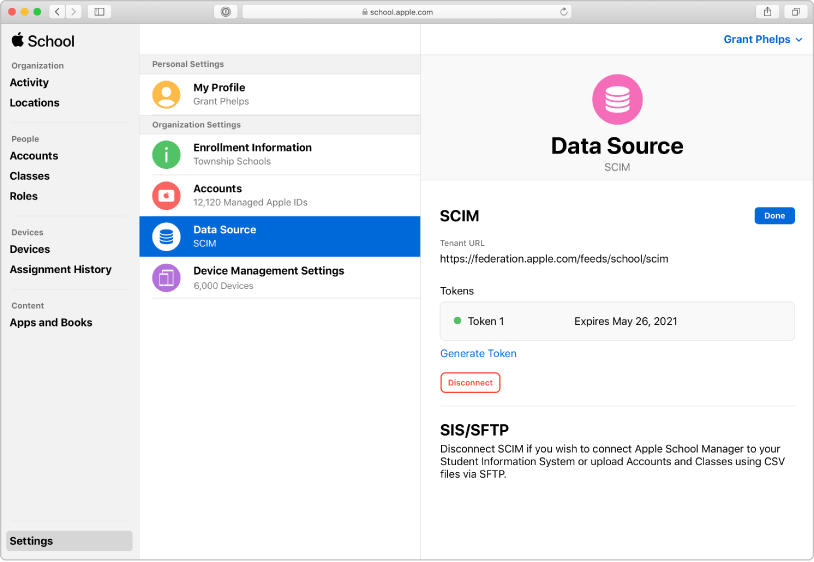 The Apple School Manager data sources showing a SCIM connection.