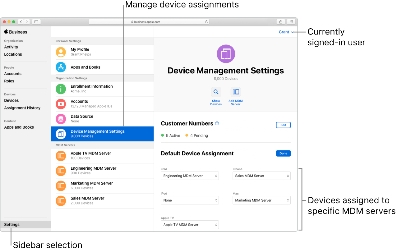 The Apple Business Manager window, with Settings selected in the sidebar. The selected Device Management organization setting opens to a pane for setting default device assignments.