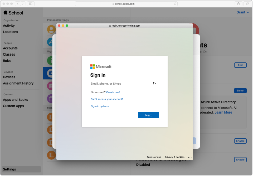 The Azure AD sign-in window on top of the Apple School Manager window.