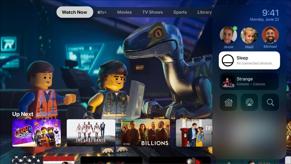 شاشة Apple TV تعرض مركز التحكم