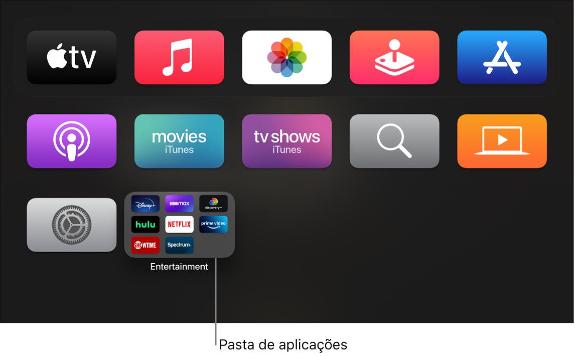 Ecrã principal a mostrar a pasta de aplicações