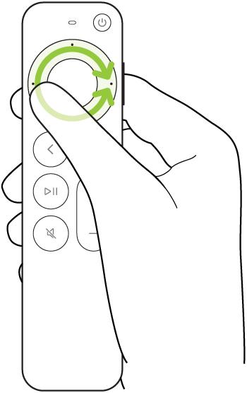 ภาพประกอบที่แสดงการวนรอบวงแหวนคลิกแพดของ Siri Remote (รุ่นที่ 2) เพื่อถูวิดีโอไปข้างหลังหรือข้างหน้า