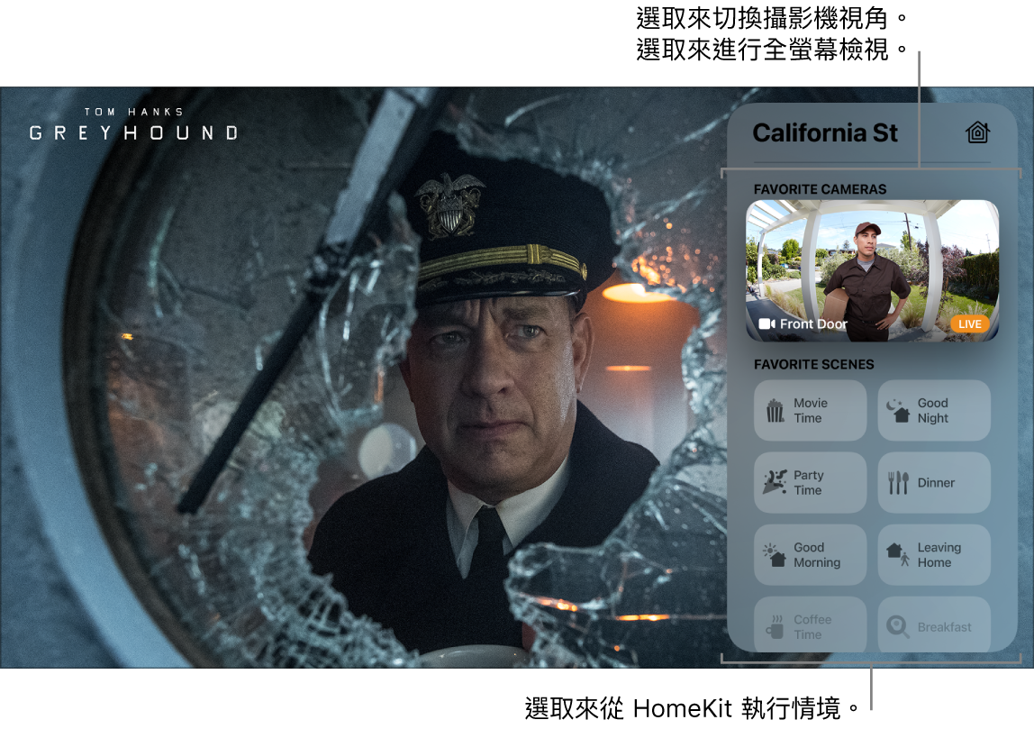 Apple TV 畫面顯示「控制中心」HomeKit 檢視畫面