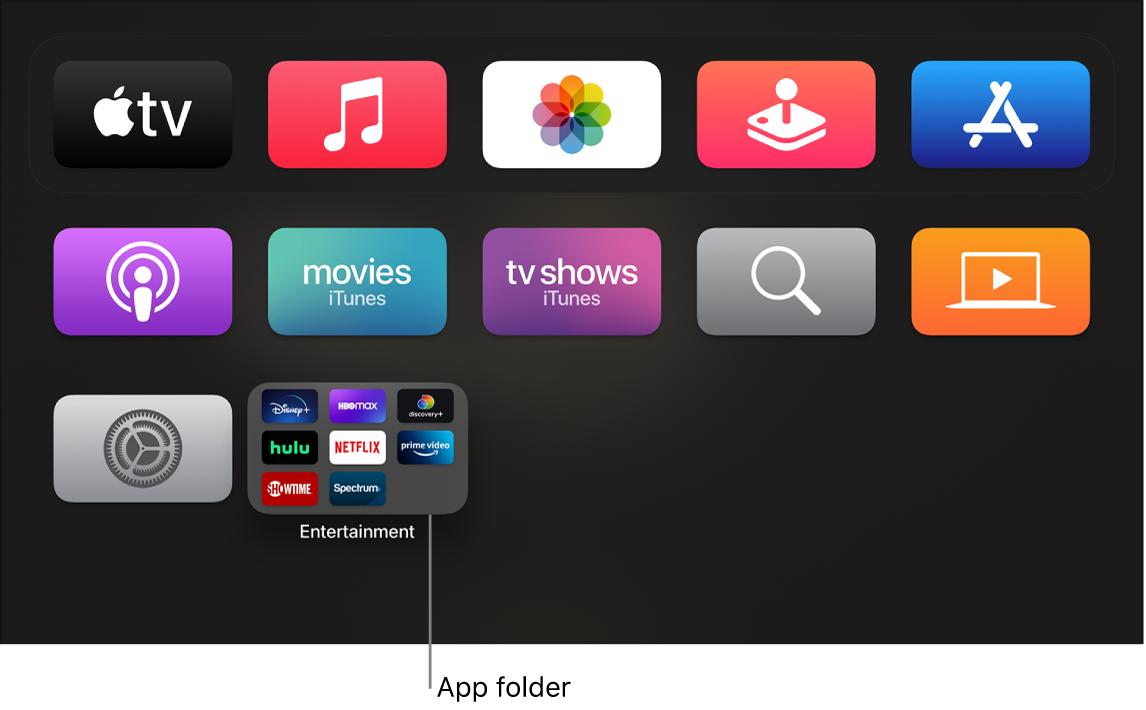 Home screen showing app folder