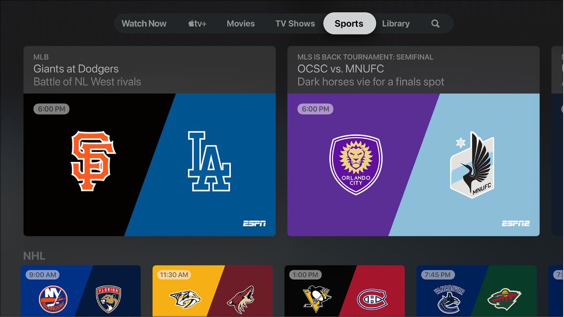 Sport in the Apple TV app