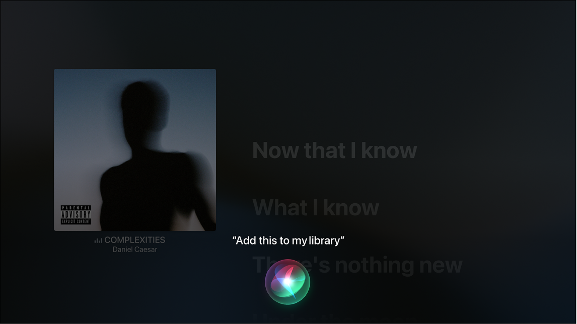 Example showing how to use Siri to add an album to my library from the Now Playing screen