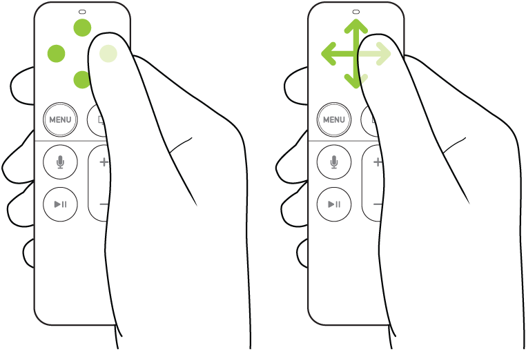 Illustration showing tapping and swiping on the touch surface