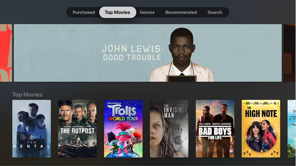 iTunes Movies Home screen