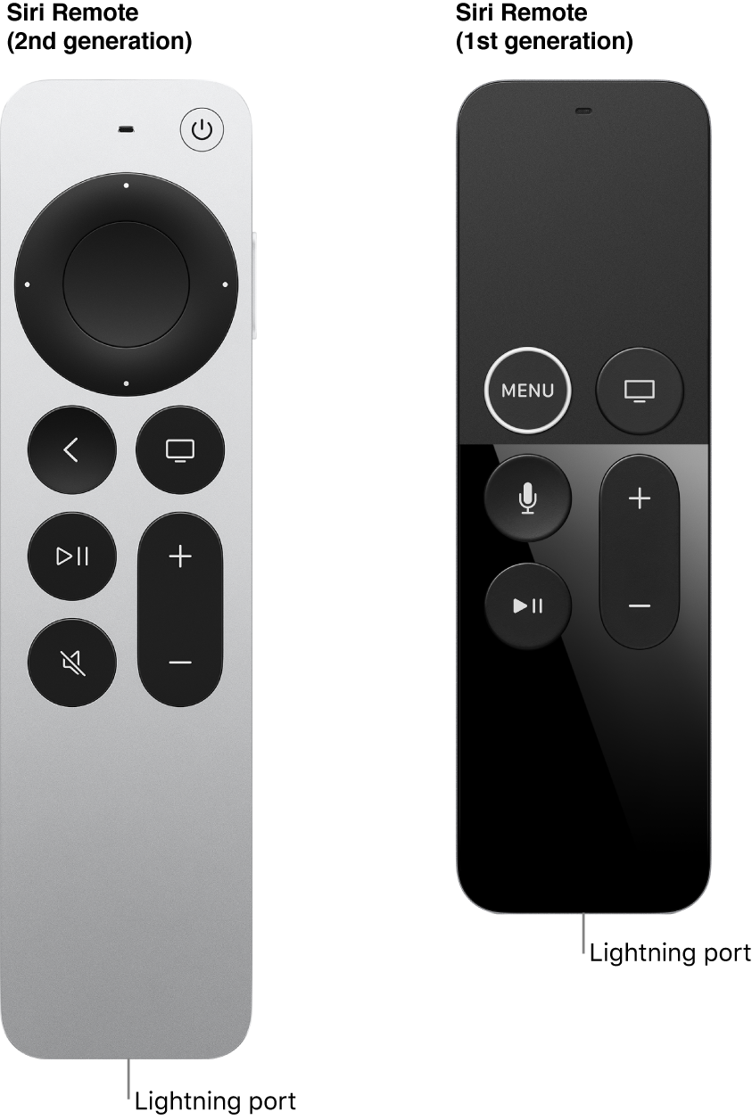 Image of Siri Remote (2nd generation) and Siri Remote (1st generation) showing the Lightning port