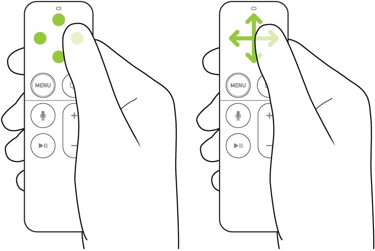 Illustration montrant le geste de toucher et de balayage sur la surface tactile