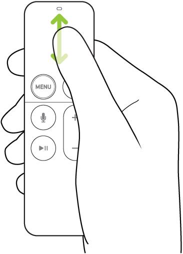 Illustration montrant le geste de défilement à l'aide de la surface tactile de la télécommande SiriRemote (1regénération)