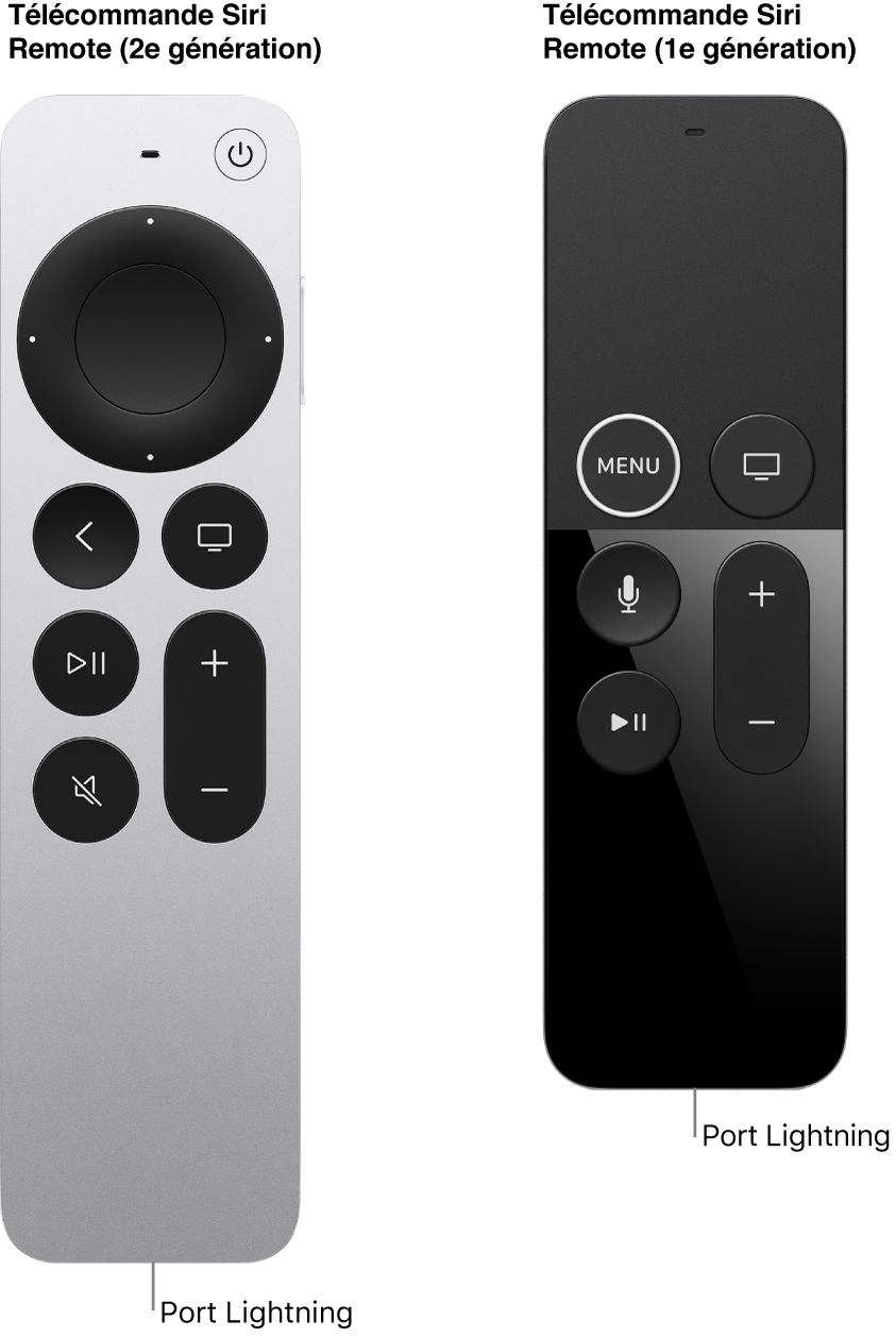 Image de la télécommande SiriRemote (2egénération) et de la télécommande SiriRemote (1regénération) montrant le port Lightning
