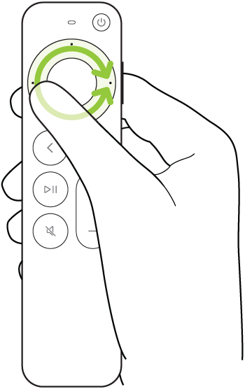 Illustration montrant le geste de rotation sur le cercle du clickpad de la télécommande SiriRemote (2egénération) pour faire défiler une vidéo vers l'avant ou vers l'arrière.