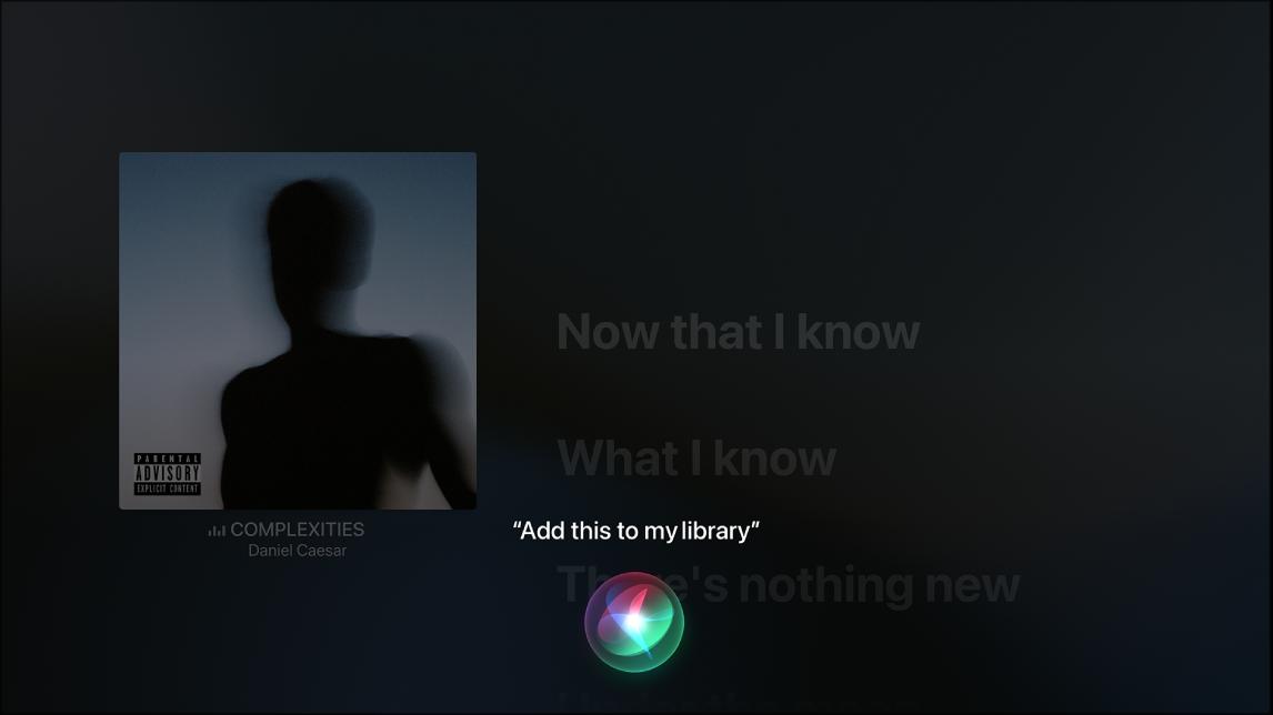 Exemple montrant comment utiliser Siri pour ajouter un album à Ma bibliothèque à partir de l'écran À l'écoute