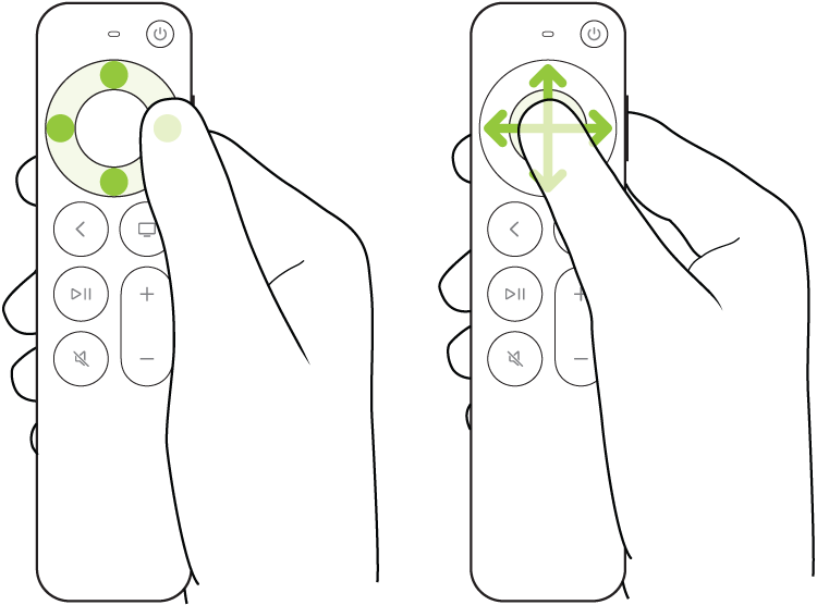 Illustration montrant les gestes de pression et de balayage sur le clickpad de la télécommande