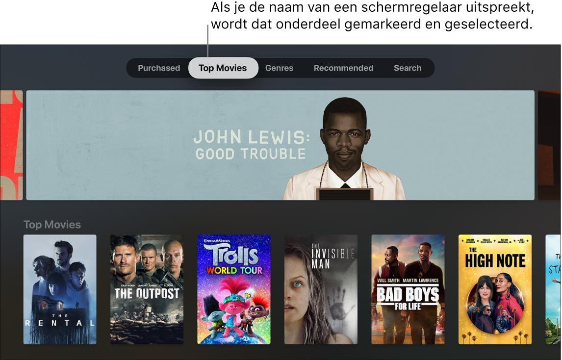 iTunes Movie Store met menuzoekopdrachten die kunnen worden uitgesproken