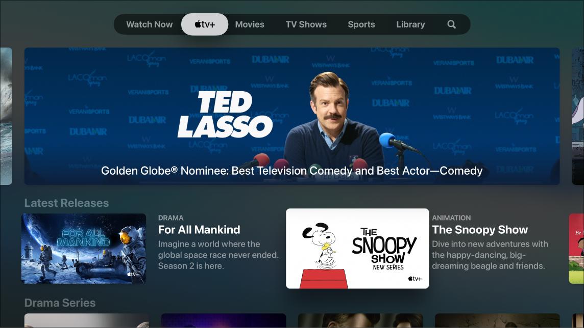 Een scherm met AppleTV+