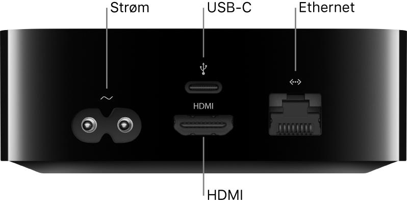 Baksiden av AppleTVHD med porter og tilhørende bildeforklaringer
