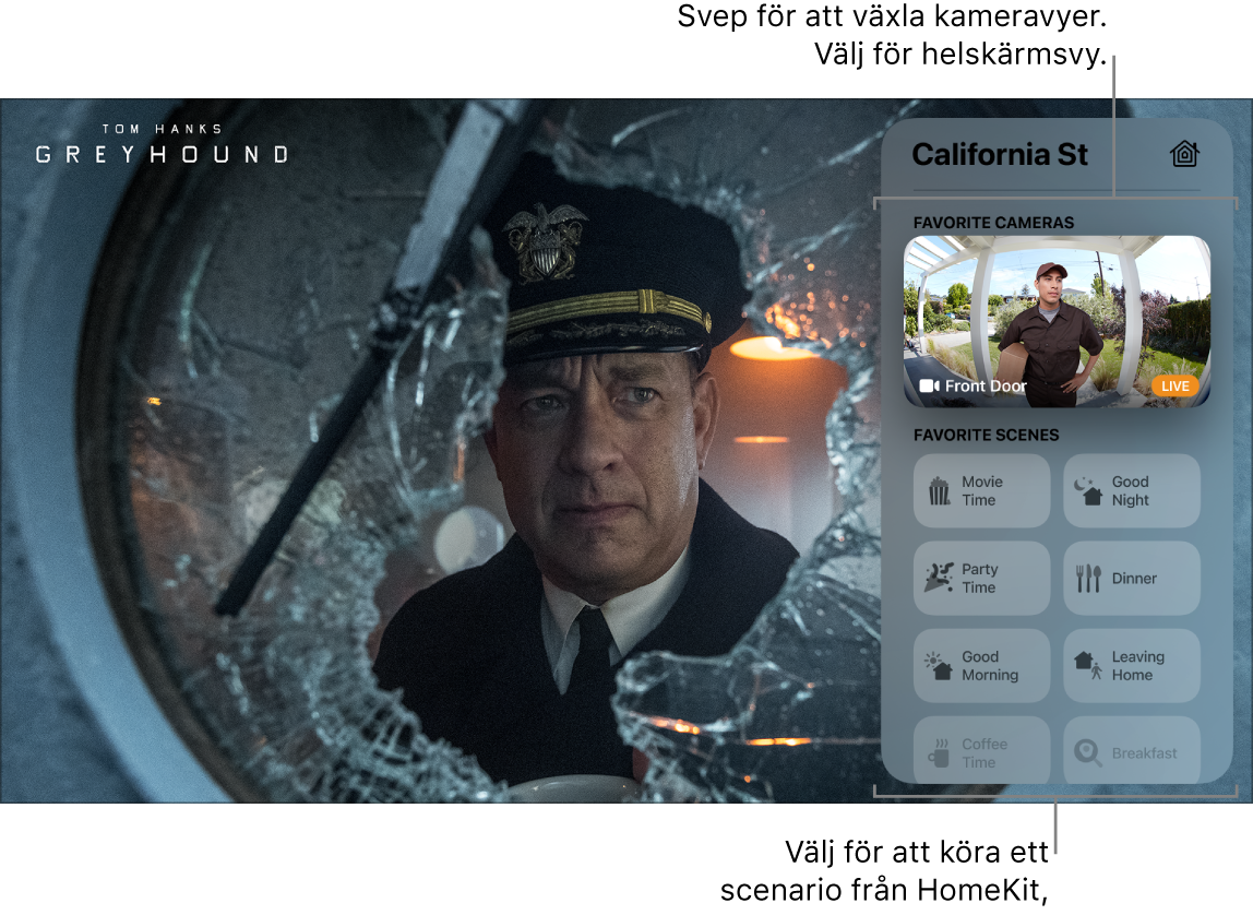 AppleTV-skärm med Kontrollcenter via HomeKit