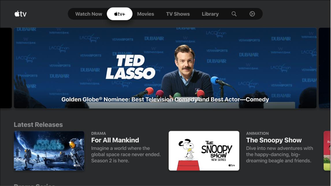 Képernyő, amelyen az Apple TV+ látható
