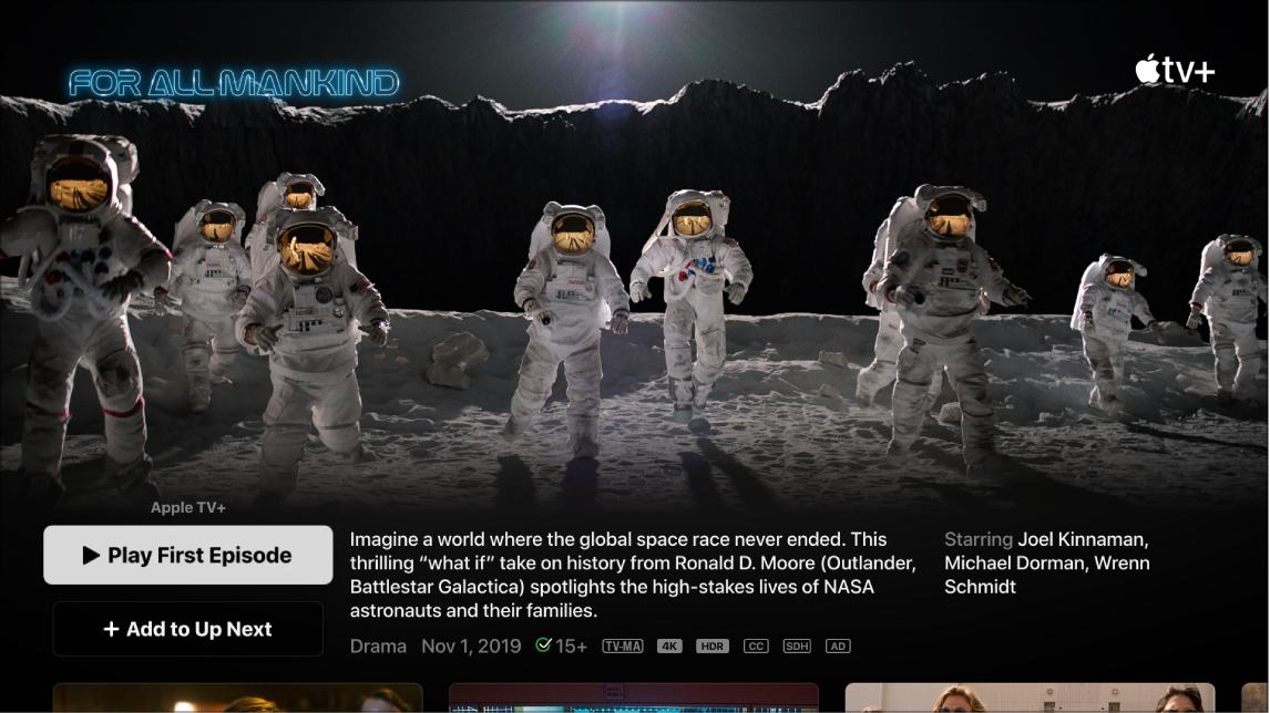 Schermata di informazioni sul programma TV
