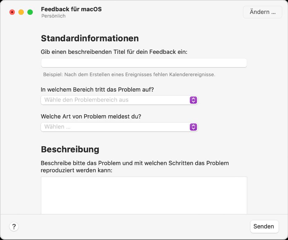 Feedback-Formular mit Feldern für wichtige Informationen und Beschreibungen
