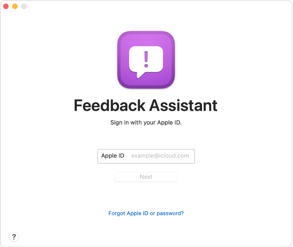 The Feedback Assistant sign in window.