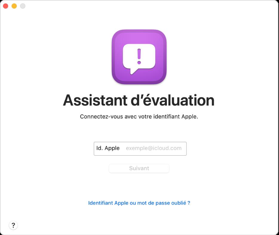 Fenêtre de connexion d'Assistant d'évaluation.