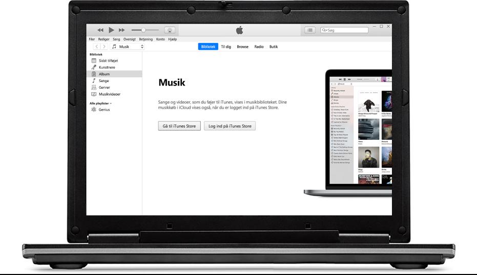En pc med et nyt, tomt iTunes-bibliotek.