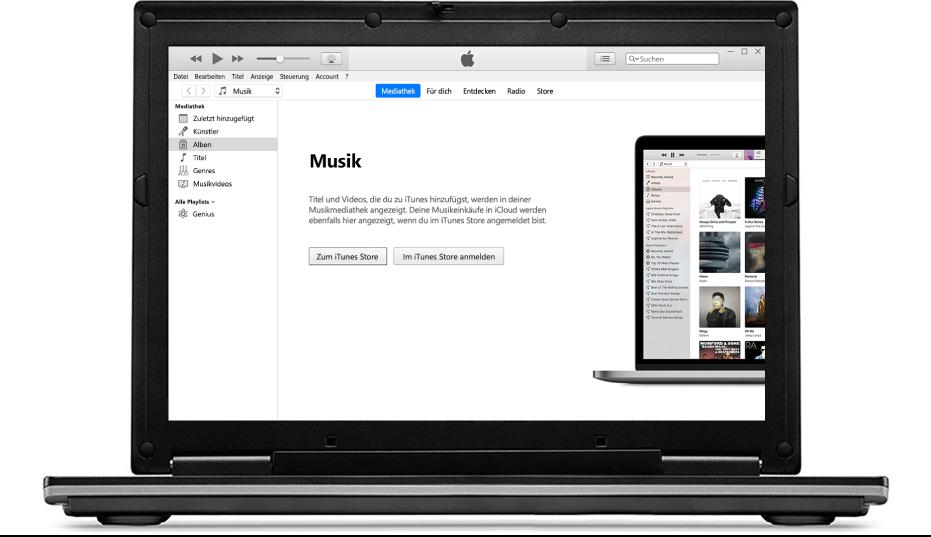 Ein PC mit einer neuen, leeren iTunes-Mediathek