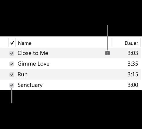 """Details der Ansicht """"Titel"""" im Bereich """"Musik"""" mit den Kontrollkästchen links und einem Symbol """"Anstößig"""" für den ersten Titel (was darauf hinweist, dass anstößige Inhalte wie Liedtexte enthalten sind). Durch Deaktivieren des Kontrollkästchens neben einem Titel wird das Abspielen des Titels verhindert."""