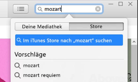 """Das Suchfeld mit eingegebenem Suchbegriff """"Mozart"""" Popupmenü """"Suchergebnisse"""" mit ausgewählter Option """"Store"""""""